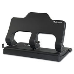 Universal - 30-sheet three-hole power assist punch, black, sold as 1 ea