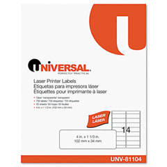 Universal 81104 Laser Printer Permanent Labels, 1-1/3 X 4, Clear, 700/Box