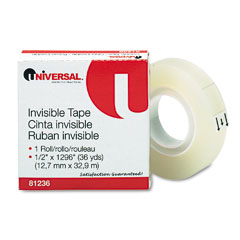 "Universal 81236 Invisible Tape, 1/2"" X 1296"", 1"" Core, Clear"