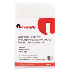 Universal 84630 Clear Laminating Pouches, 3 Mil, 9 X 14-1/2, 25/Pack