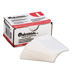 Universal - clear laminating pouches, 5 mil, 2-3/16 x 3-11/16, business card size, 100, sold as 1 bx