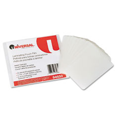 Universal - clear laminating pouches, 5 mil, 2-1/8 x 3-3/8, business card style, 25/pack, sold as 1 pk