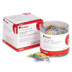 Universal - paper clips, vinyl coated wire, no. 1, assorted colors, 500/pack, sold as 1 pk