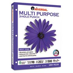 Universal 95230 Multipurpose Paper, 98 Brightness, 20Lb, Ltr, 3-Hole Punch, Bright We, 5000/Ctn