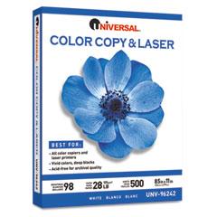 Universal 96242 Color Copy/Laser Paper, 98 Brightness, 28Lb, 8-1/2 X 11, White, 500 Sheets/Ream