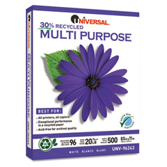 Universal 96243 Recycled Paper, 96 Brightness, 20Lb, 8-1/2 X 11, Ultra White, 500 Sheets/Ream