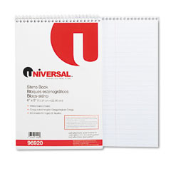 Universal 96920 Steno Book, Gregg Rule, 6 X 9, White, 80 Sheets/Pad