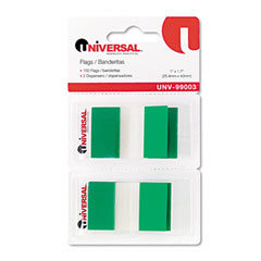 Universal 99003 Page Flags, Green, 50 Flags/Dispenser, 2 Dispensers/Pack