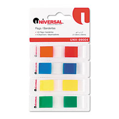 Universal 99004 Page Flags, Assorted Colors, 35 Flags/Dispenser, 4 Dispensers/Pack