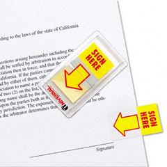 Universal - arrow page flags, -inchsign here-inch, yellow/red, 2 dispensers of 50 flags/pack, sold as 1 pk