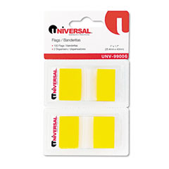 Universal 99006 Page Flags, Yellow, 50 Flags/Dispenser, 2 Dispensers/Pack