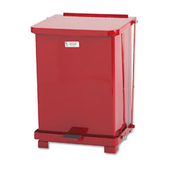 RCP ST7ERDPL Defenders Biohazard Step Can, Square, Steel, 7 Gal, Red