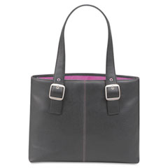 Solo - classic collection 15.4-inch laptop tote, pebble-grain vinyl, black/pink, sold as 1 ea