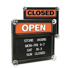 Headline sign - double-sided open/closed sign w/plastic push characters, 14-3/8 x 12-3/8, sold as 1 ea