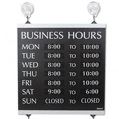 Headline sign - century series business hours sign, heavy-duty plastic, 13 x 14, black, sold as 1 ea