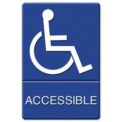 Headline sign - ada sign, wheelchair accessible, tactile symbol/braille, molded plastic, 6 x 9, sold as 1 ea
