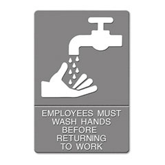 Headline sign - ada sign, -inchemployees must wash hands...-inch tactile symbol/braille, 6 x 9, gray, sold as 1 ea