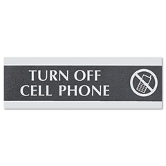 Headline sign - century series office sign,-inchcell phones must be turned off-inch, 9 x 1/2 x 3, sold as 1 ea