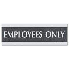Headline sign - century series office sign, -inchemployees only-inch, 9 x 1/2 x 3, black/silver, sold as 1 ea