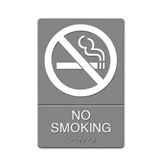 Headline sign - ada sign, no smoking symbol w/tactile graphic, molded plastic, 6 x 9, gray, sold as 1 ea