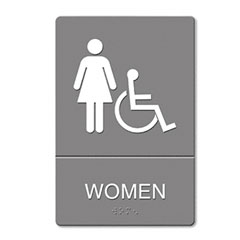 Headline sign - ada sign, women restroom wheelchair accessible symbol, molded plastic, 6 x 9, sold as 1 ea