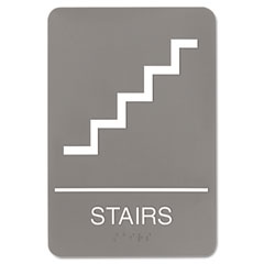 Headline sign - ada sign, 6 x 9, stairs, gray, sold as 1 ea