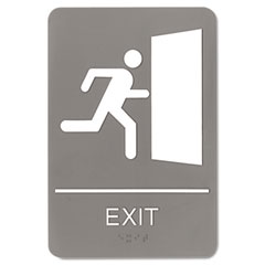Headline sign - ada sign, 6 x 9, exit, gray, sold as 1 ea
