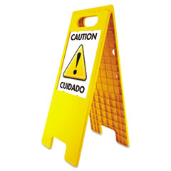 Headline sign - floor tent sign, doublesided, plastic, 10 1/2 x 25 1/2, yellow, sold as 1 ea