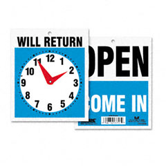 Headline sign - double-sided open/will return sign w/clock hands, plastic, 7-1/2 x 9, sold as 1 ea