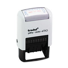 Trodat - trodat economy stamp, dater, self-inking, 1 5/8 x 1, blue/red, sold as 1 ea