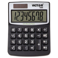 Victor - 1000 minidesk calculator, solar/battery, 8-digit display, black, sold as 1 ea
