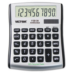 Victor - 1100-3a antimicrobial compact desktop calculator, 8-digit lcd, sold as 1 ea