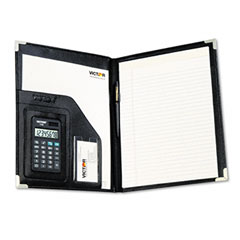 Victor - pad holder w/calculator, vinyl/pewter corners, file slots, writing pad, black, sold as 1 ea
