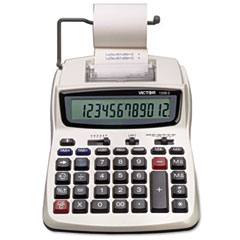 Victor - 1208-2 two-color compact printing calculator, 12-digit lcd, black/red, sold as 1 ea