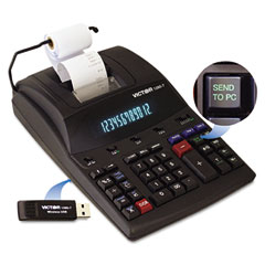 Victor - 1280-7 two-color printing calculator w/usb, 12-digit fluorescent, black/red, sold as 1 ea