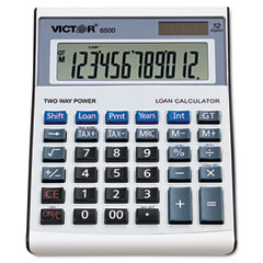 Victor 6500 6500 Executive Desktop Loan Calculator, 12-Digit Lcd, Black/Silver