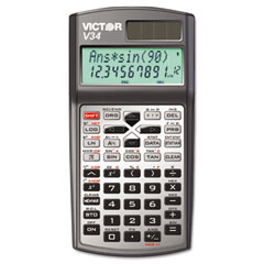 Victor - v34 advanced scientific calculator, black/gray, sold as 1 ea
