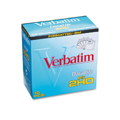 "Verbatim VER87410 3.5"" Diskettes, IBM-Formatted, DS/HD, 10/Box"