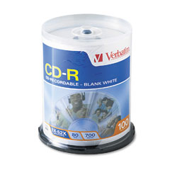 Verbatim - cd-r discs, 700mb/80min, 52x, spindle, white, 100/pack, sold as 1 pk