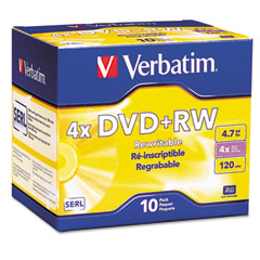 Verbatim - dvd+rw discs, 4.7gb, 4x, w/slim jewel cases, pearl, 10/pack, sold as 1 pk