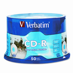 Verbatim - cd-r discs, 700mb/80min, 52x, spindle, silver, 50/pack, sold as 1 pk