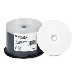 Verbatim - inkjet printable dvd+r discs, 4.7gb, 16x, spindle, white, 50/pack, sold as 1 pk
