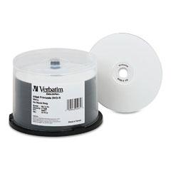 Verbatim - inkjet printable dvd-r discs, 4.7gb, 8x, spindle, white, 50/pack, sold as 1 pk