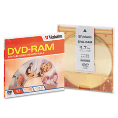 Verbatim - type 4 dvd-ram cartridge, 4.7gb, 3x, sold as 1 ea