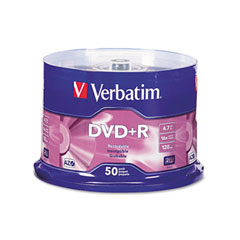 Verbatim - dvd+r discs, 4.7gb, 16x, spindle, matte silver, 50/pack, sold as 1 pk