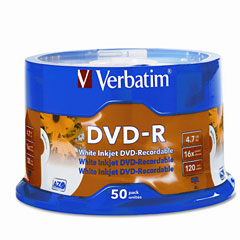 Verbatim - inkjet printable dvd-r discs, 4.7gb, 16x, spindle, white, 50/pack, sold as 1 pk