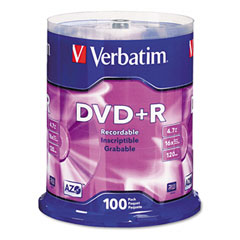 Verbatim - dvd+r discs, 4.7gb, 16x, spindle, 100/pack, sold as 1 pk