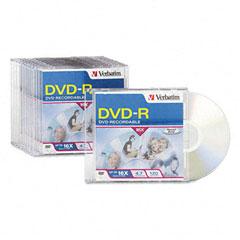 Verbatim - dvd-r discs, 4.7gb, 16x, w/slim jewel cases, 10/pack, sold as 1 pk