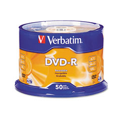Verbatim - dvd-r discs, 4.7gb, 16x, spindle, matte silver, 50/pack, sold as 1 pk
