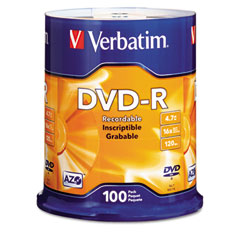 Verbatim - dvd-r discs, 4.7gb, 16x, spindle, matte silver, 100/pack, sold as 1 pk